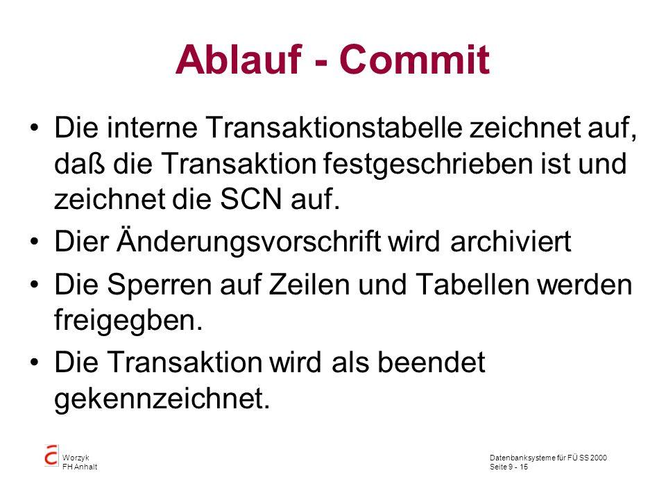 Datenbanksysteme für FÜ SS 2000 Seite 9 - 15 Worzyk FH Anhalt Ablauf - Commit Die interne Transaktionstabelle zeichnet auf, daß die Transaktion festgeschrieben ist und zeichnet die SCN auf.