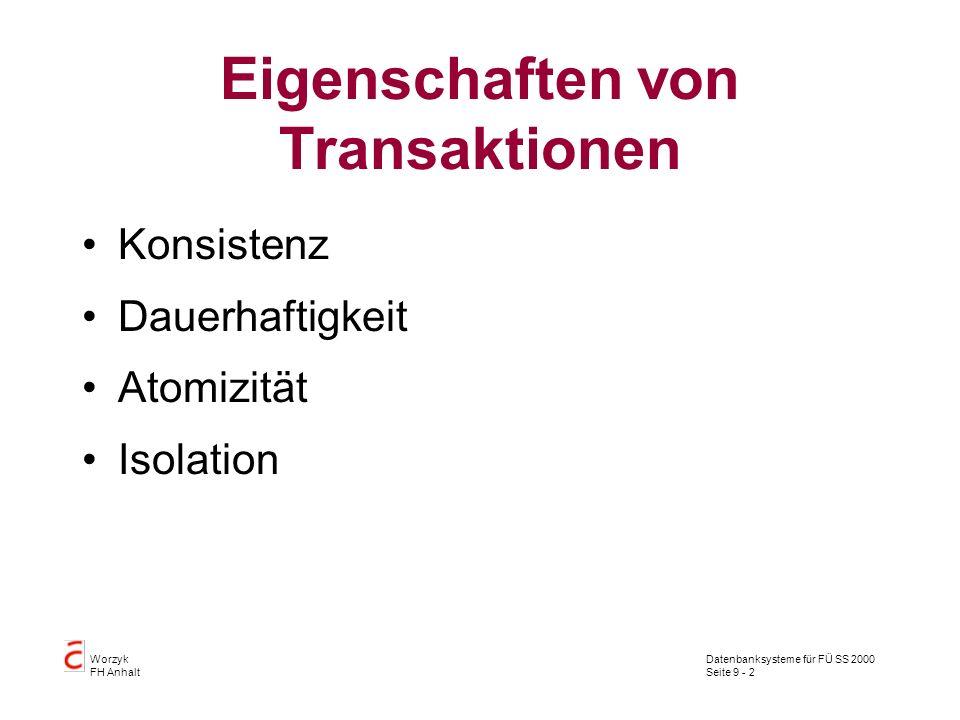 Datenbanksysteme für FÜ SS 2000 Seite 9 - 2 Worzyk FH Anhalt Eigenschaften von Transaktionen Konsistenz Dauerhaftigkeit Atomizität Isolation
