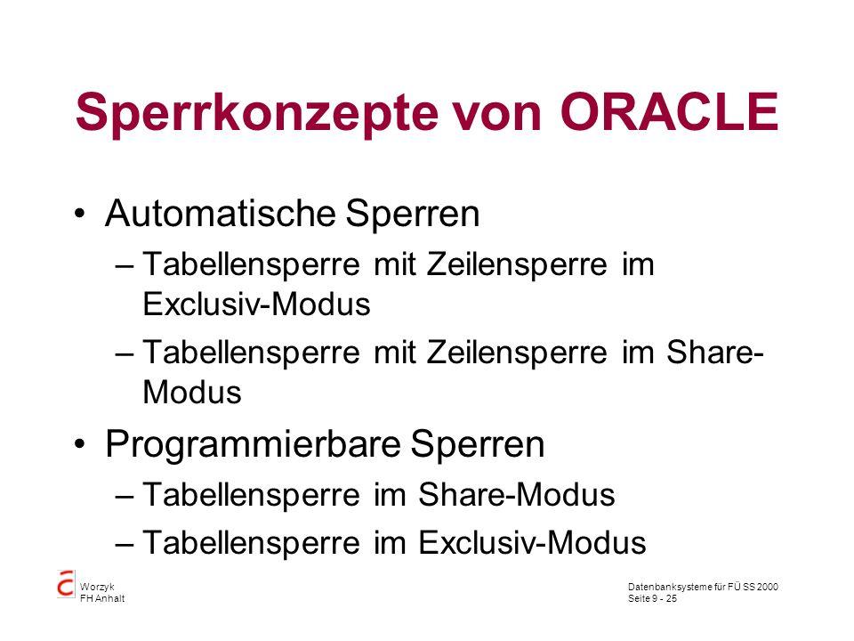 Datenbanksysteme für FÜ SS 2000 Seite 9 - 25 Worzyk FH Anhalt Sperrkonzepte von ORACLE Automatische Sperren –Tabellensperre mit Zeilensperre im Exclus