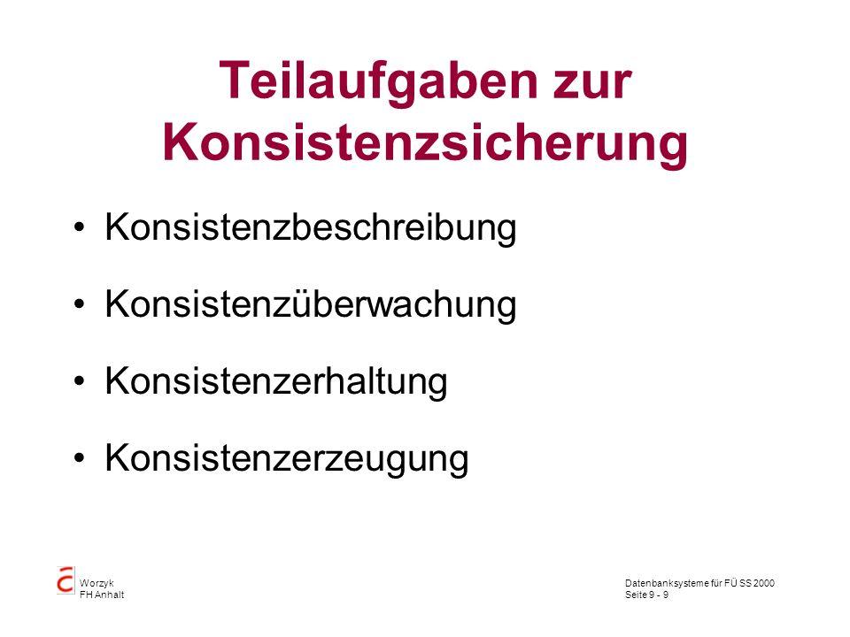 Datenbanksysteme für FÜ SS 2000 Seite 9 - 9 Worzyk FH Anhalt Teilaufgaben zur Konsistenzsicherung Konsistenzbeschreibung Konsistenzüberwachung Konsistenzerhaltung Konsistenzerzeugung