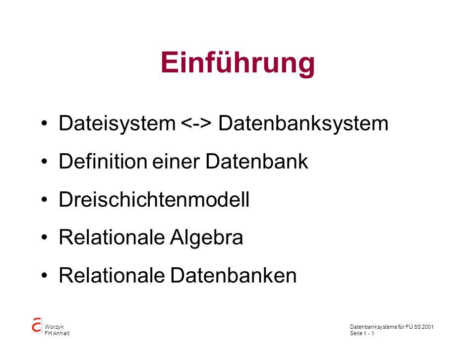 Datenbanksysteme für FÜ SS 2001 Seite 1 - 22 Worzyk FH Anhalt Differenz Die Differenz zweier Tabellen T 1 und T 2 enthält alle Tupel, die in der Tabelle T 1 aber nicht in der Tabelle T 2 enthalten sind.