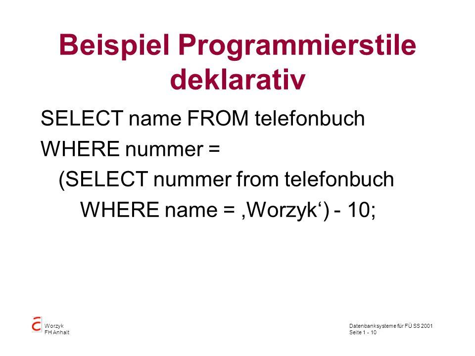Datenbanksysteme für FÜ SS 2001 Seite 1 - 10 Worzyk FH Anhalt Beispiel Programmierstile deklarativ SELECT name FROM telefonbuch WHERE nummer = (SELECT