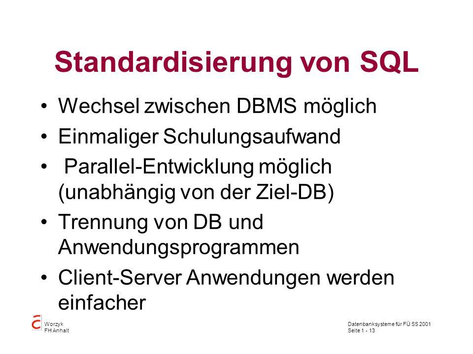 Datenbanksysteme für FÜ SS 2001 Seite 1 - 13 Worzyk FH Anhalt Standardisierung von SQL Wechsel zwischen DBMS möglich Einmaliger Schulungsaufwand Paral