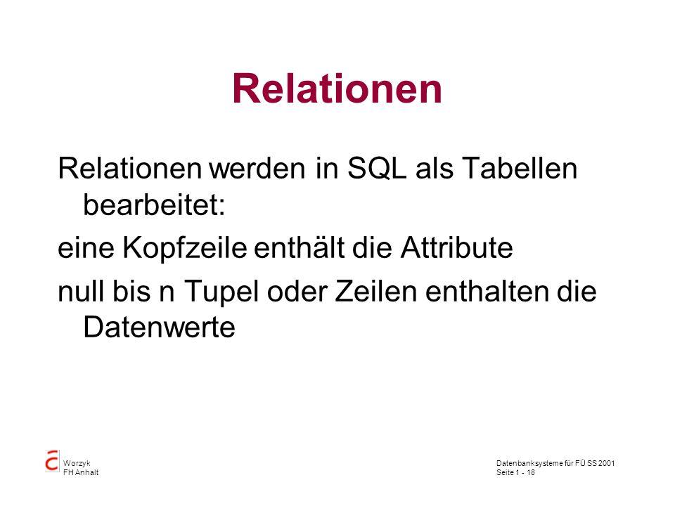 Datenbanksysteme für FÜ SS 2001 Seite 1 - 18 Worzyk FH Anhalt Relationen Relationen werden in SQL als Tabellen bearbeitet: eine Kopfzeile enthält die
