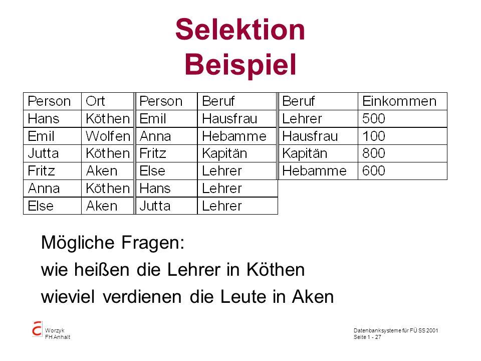 Datenbanksysteme für FÜ SS 2001 Seite 1 - 27 Worzyk FH Anhalt Selektion Beispiel Mögliche Fragen: wie heißen die Lehrer in Köthen wieviel verdienen di