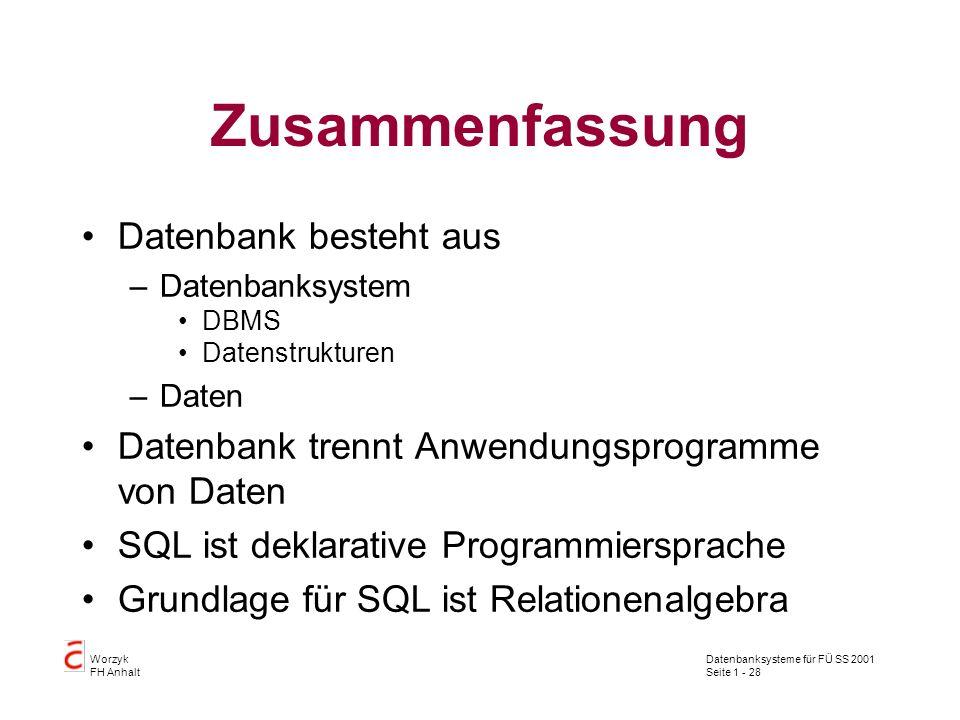 Datenbanksysteme für FÜ SS 2001 Seite 1 - 28 Worzyk FH Anhalt Zusammenfassung Datenbank besteht aus –Datenbanksystem DBMS Datenstrukturen –Daten Daten