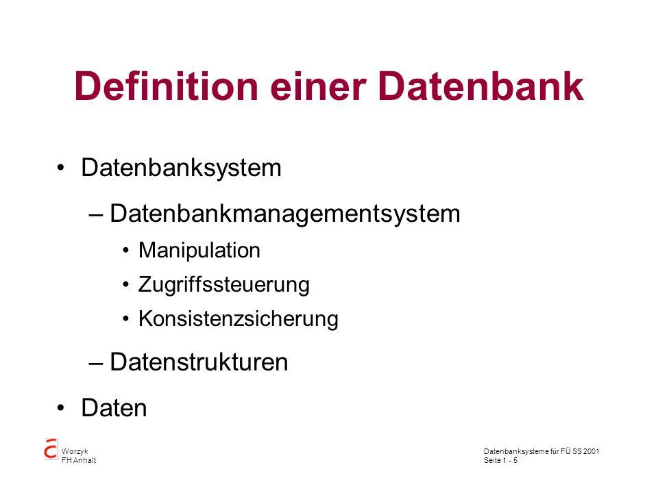 Datenbanksysteme für FÜ SS 2001 Seite 1 - 6 Worzyk FH Anhalt Dreischichtenmodell nach ANSI/SPARC Externe Schicht –Benutzersicht Konzeptionelle Schicht –Datenbankadministratorsicht Interne Schicht –Datenbankherstellersicht