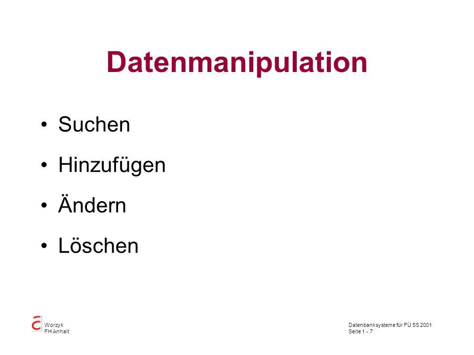 Datenbanksysteme für FÜ SS 2001 Seite 1 - 18 Worzyk FH Anhalt Relationen Relationen werden in SQL als Tabellen bearbeitet: eine Kopfzeile enthält die Attribute null bis n Tupel oder Zeilen enthalten die Datenwerte