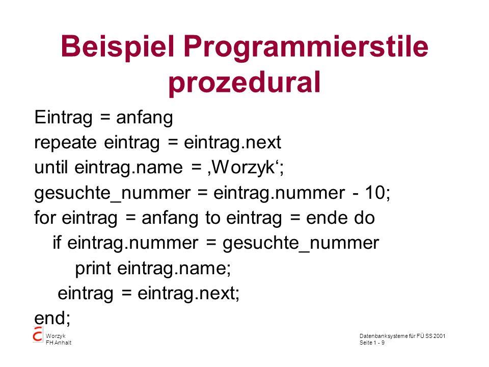 Datenbanksysteme für FÜ SS 2001 Seite 1 - 9 Worzyk FH Anhalt Beispiel Programmierstile prozedural Eintrag = anfang repeate eintrag = eintrag.next unti