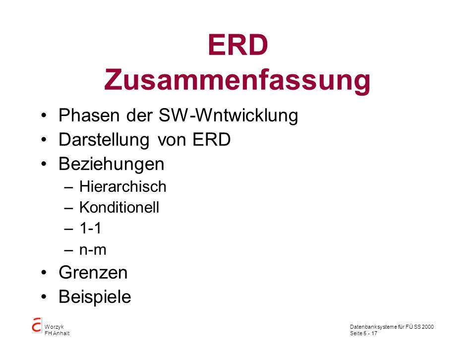 Datenbanksysteme für FÜ SS 2000 Seite 5 - 17 Worzyk FH Anhalt ERD Zusammenfassung Phasen der SW-Wntwicklung Darstellung von ERD Beziehungen –Hierarchi
