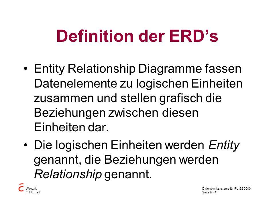 Datenbanksysteme für FÜ SS 2000 Seite 5 - 4 Worzyk FH Anhalt Definition der ERDs Entity Relationship Diagramme fassen Datenelemente zu logischen Einhe