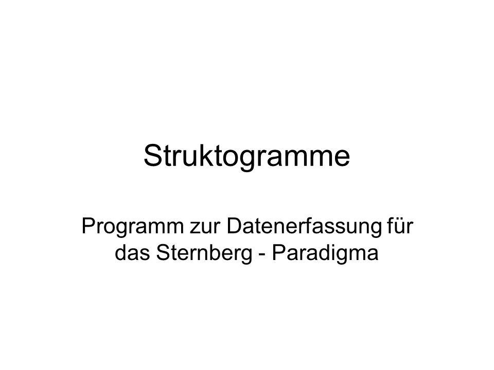Struktogramme Programm zur Datenerfassung für das Sternberg - Paradigma