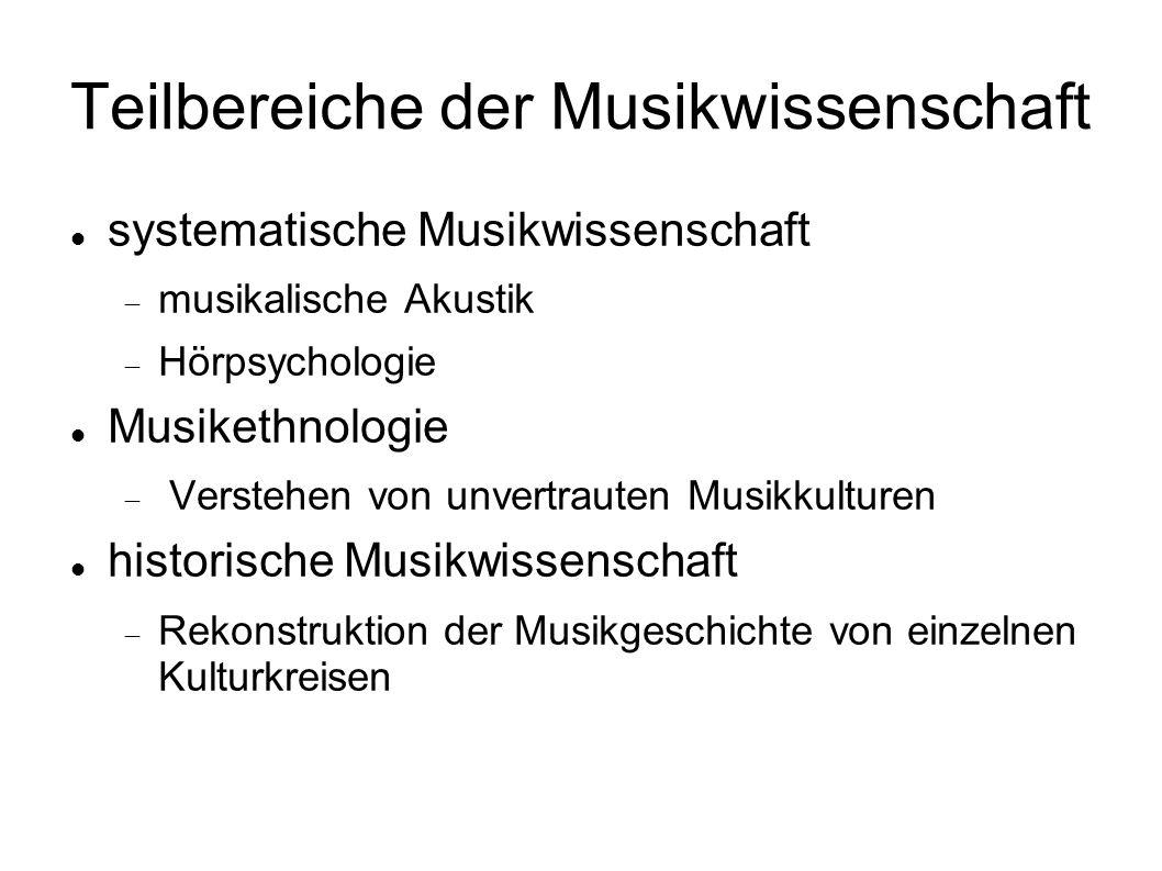 Teilbereiche der Musikwissenschaft systematische Musikwissenschaft musikalische Akustik Hörpsychologie Musikethnologie Verstehen von unvertrauten Musi