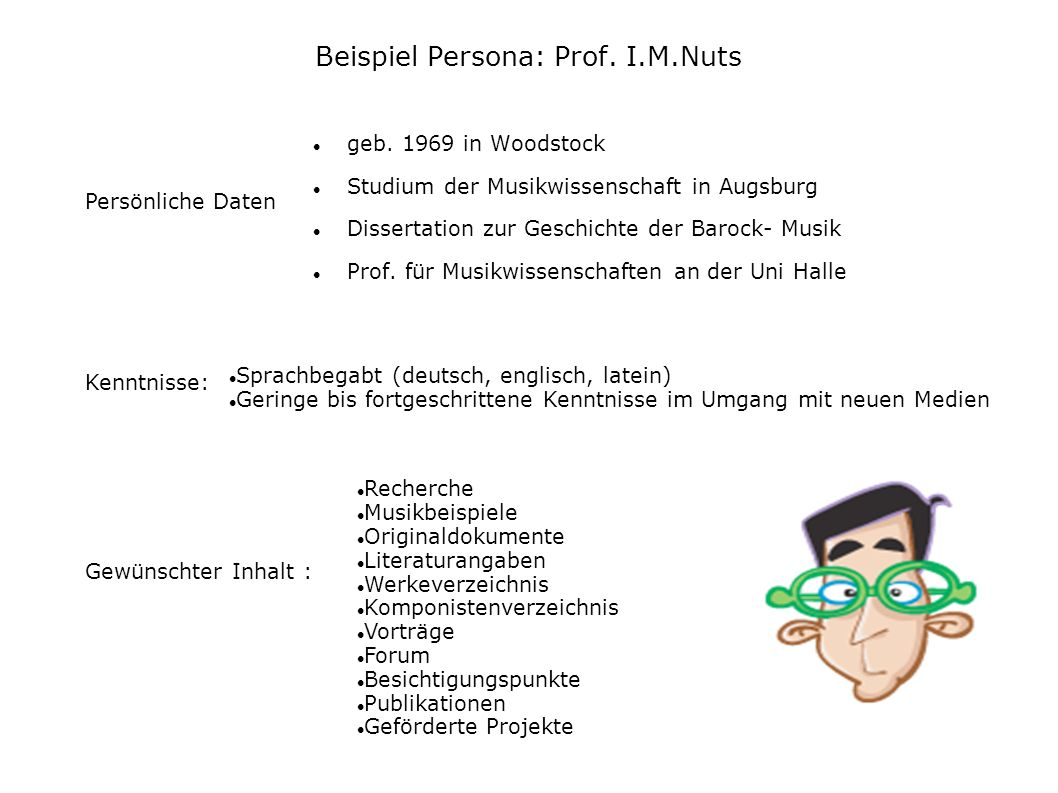 Beispiel Persona: Prof. I.M.Nuts geb. 1969 in Woodstock Studium der Musikwissenschaft in Augsburg Dissertation zur Geschichte der Barock- Musik Prof.