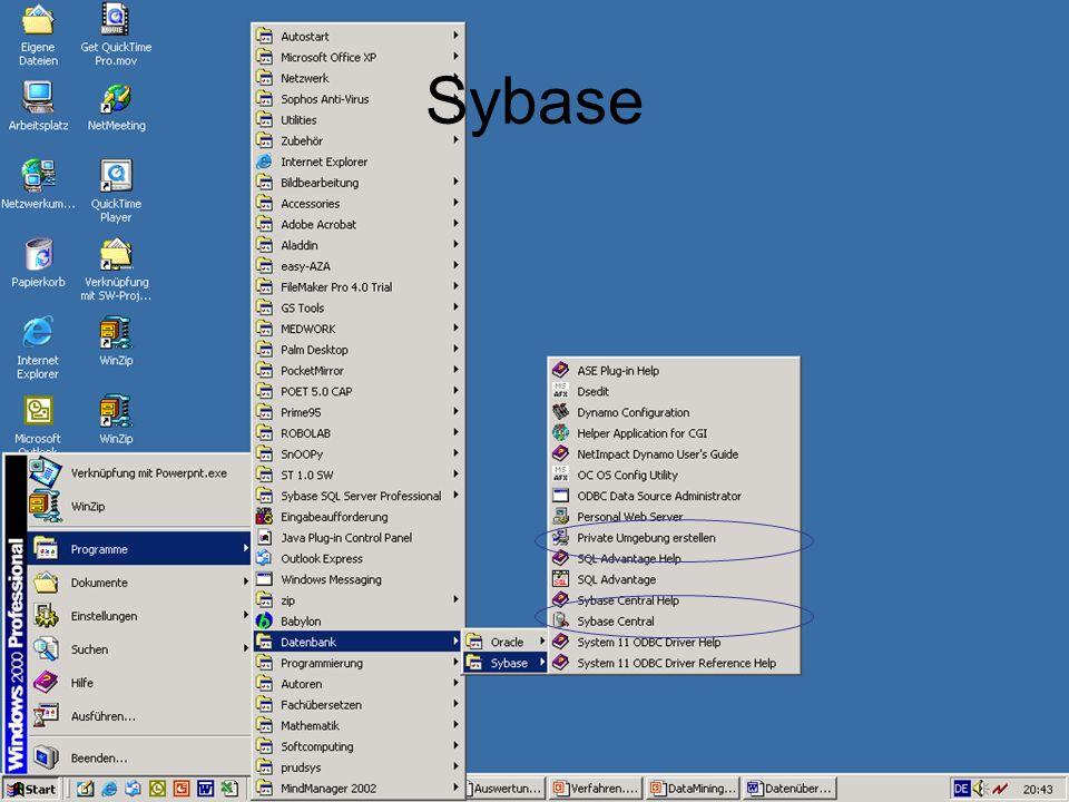 Datenbanksysteme 3 Sommer 2003 Datenübernahme - 24 Worzyk FH Anhalt Sybase