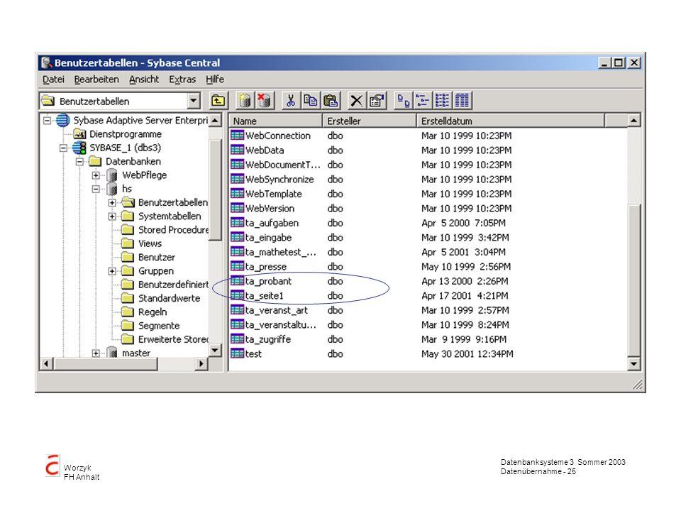 Datenbanksysteme 3 Sommer 2003 Datenübernahme - 25 Worzyk FH Anhalt