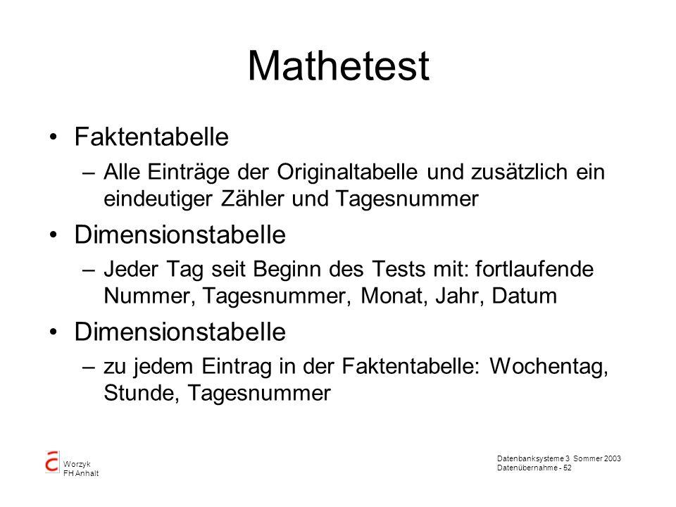 Datenbanksysteme 3 Sommer 2003 Datenübernahme - 52 Worzyk FH Anhalt Mathetest Faktentabelle –Alle Einträge der Originaltabelle und zusätzlich ein eind