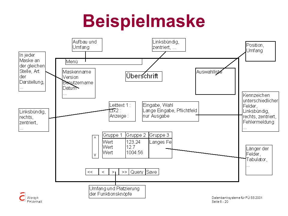 Datenbanksysteme für FÜ SS 2001 Seite 6 - 20 Worzyk FH Anhalt Beispielmaske