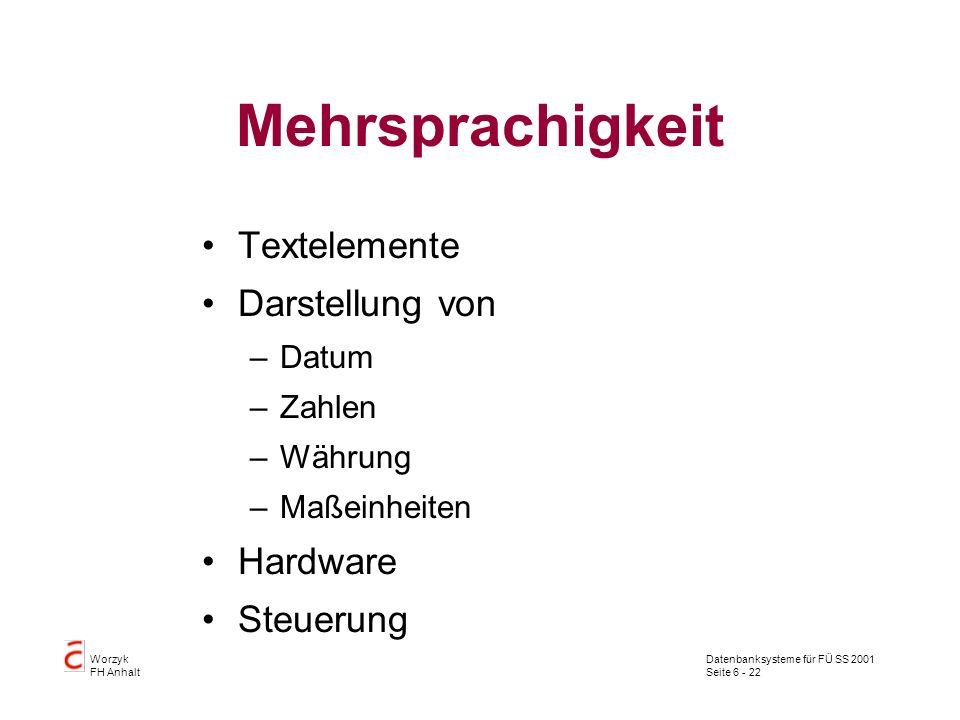 Datenbanksysteme für FÜ SS 2001 Seite 6 - 22 Worzyk FH Anhalt Mehrsprachigkeit Textelemente Darstellung von –Datum –Zahlen –Währung –Maßeinheiten Hardware Steuerung