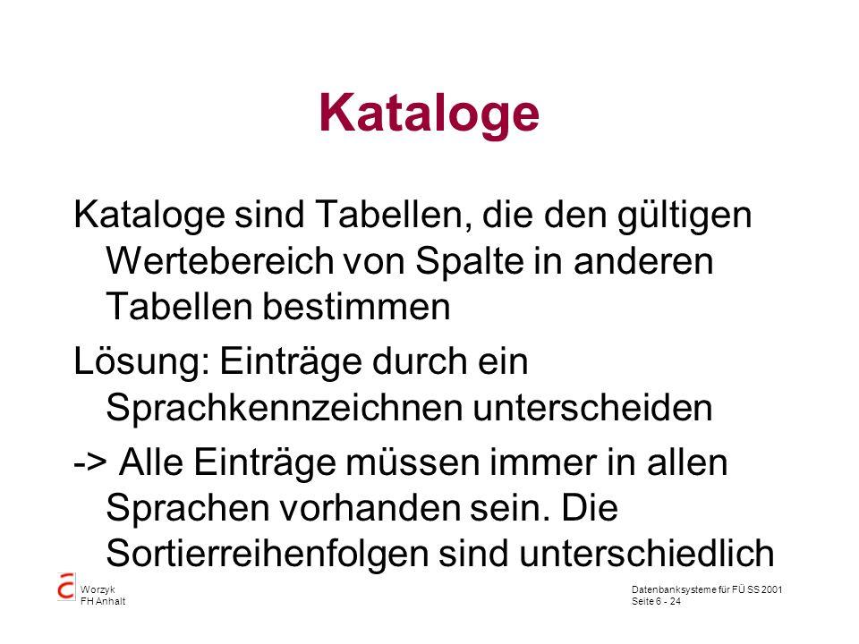 Datenbanksysteme für FÜ SS 2001 Seite 6 - 24 Worzyk FH Anhalt Kataloge Kataloge sind Tabellen, die den gültigen Wertebereich von Spalte in anderen Tabellen bestimmen Lösung: Einträge durch ein Sprachkennzeichnen unterscheiden -> Alle Einträge müssen immer in allen Sprachen vorhanden sein.
