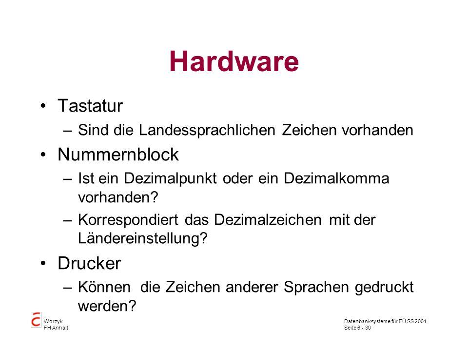 Datenbanksysteme für FÜ SS 2001 Seite 6 - 30 Worzyk FH Anhalt Hardware Tastatur –Sind die Landessprachlichen Zeichen vorhanden Nummernblock –Ist ein Dezimalpunkt oder ein Dezimalkomma vorhanden.