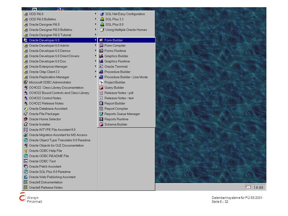 Datenbanksysteme für FÜ SS 2001 Seite 6 - 32 Worzyk FH Anhalt
