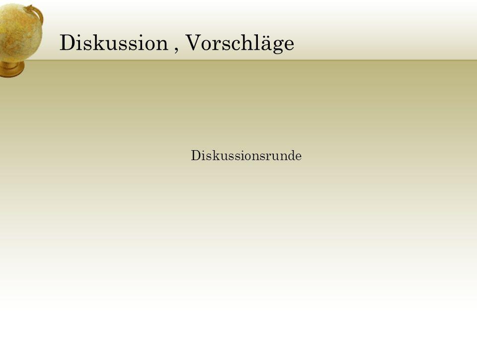 Diskussion, Vorschläge Diskussionsrunde
