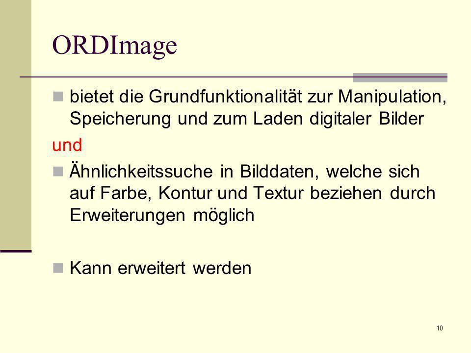11 ORDImage Möglichkeiten ORDImage – Typ: Änderung Kodierung, Skalierung die technischen Bildattribute in Anfragen zu verwenden