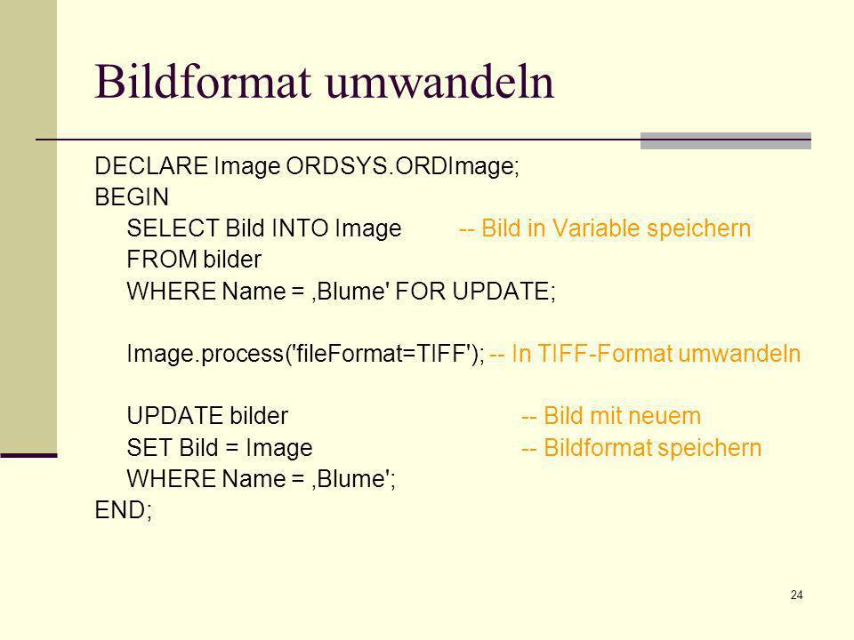 25 ORDImage AttributeDatentypBeschreibung sourceORDSourceORDSource, in dem die Bilddaten gespeichert sind heightINTEGERHöhe des Bildes widthINTEGERBreite des Bildes contentLengthINTEGERDie Größe des Bildes in Byte fileFormatVARCHAR2 (4000)Datenformat (z.B.