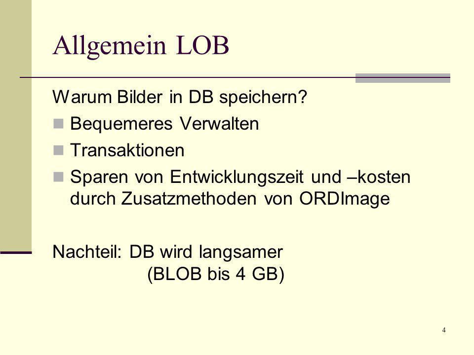 5 Allgemein LOB Mediadaten können intern oder extern gespeichert werden BLOB: intern, Daten im Tablespace BFILE: extern, Verweis auf Datei im lokalen Dateisystem – vom DBS verwaltet