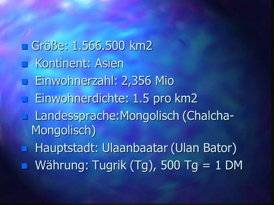 n Größe: 1.566.500 km2 n Kontinent: Asien n Einwohnerzahl: 2,356 Mio n Einwohnerdichte: 1.5 pro km2 n Landessprache:Mongolisch (Chalcha- Mongolisch) n
