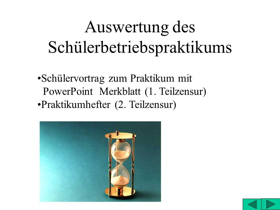 Auswertung des Schülerbetriebspraktikums Schülervortrag zum Praktikum mit PowerPoint Merkblatt (1. Teilzensur) Praktikumhefter (2. Teilzensur)
