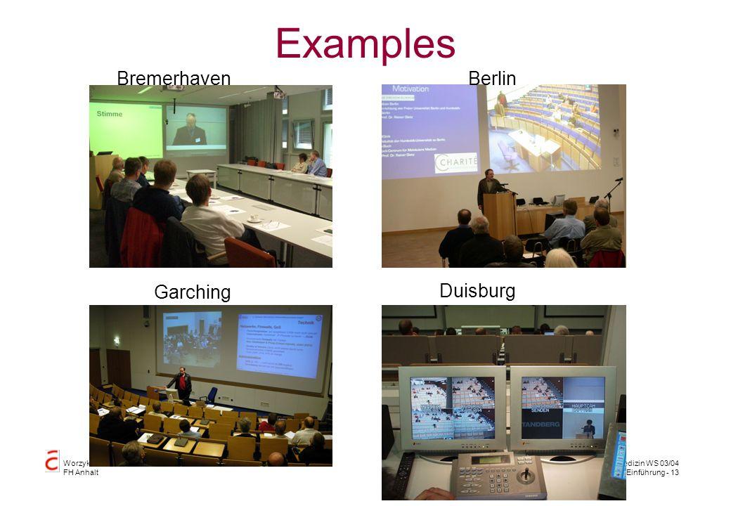 Worzyk FH Anhalt Telemedizin WS 03/04 Einführung - 13 Examples BremerhavenBerlin Duisburg Garching