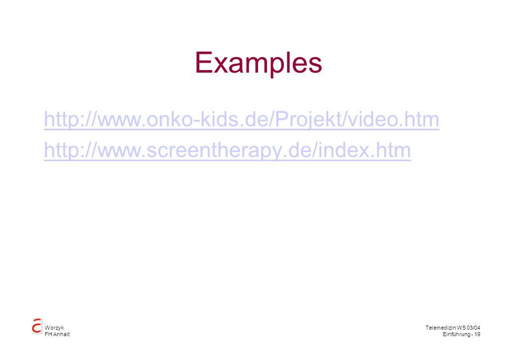 Worzyk FH Anhalt Telemedizin WS 03/04 Einführung - 19 Examples http://www.onko-kids.de/Projekt/video.htm http://www.screentherapy.de/index.htm
