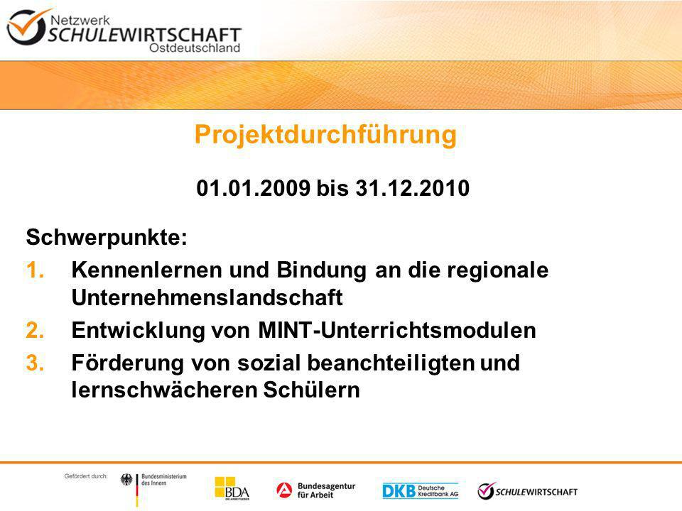 Projektdurchführung Kennenlernen der regionalen Wirtschaft AK SCHULEWIRTSCHAFT Parchim AK SCHULEWIRTSCHAFT Wismar und NWM e.
