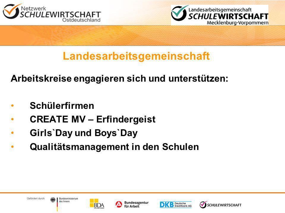 Landesarbeitsgemeinschaft Arbeitskreise engagieren sich und unterstützen: Schülerfirmen CREATE MV – Erfindergeist Girls`Day und Boys`Day Qualitätsmanagement in den Schulen
