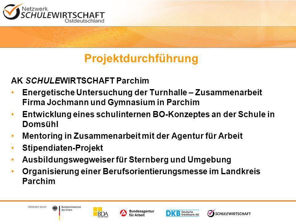 Projektdurchführung AK SCHULEWIRTSCHAFT Wismar und NWM e.