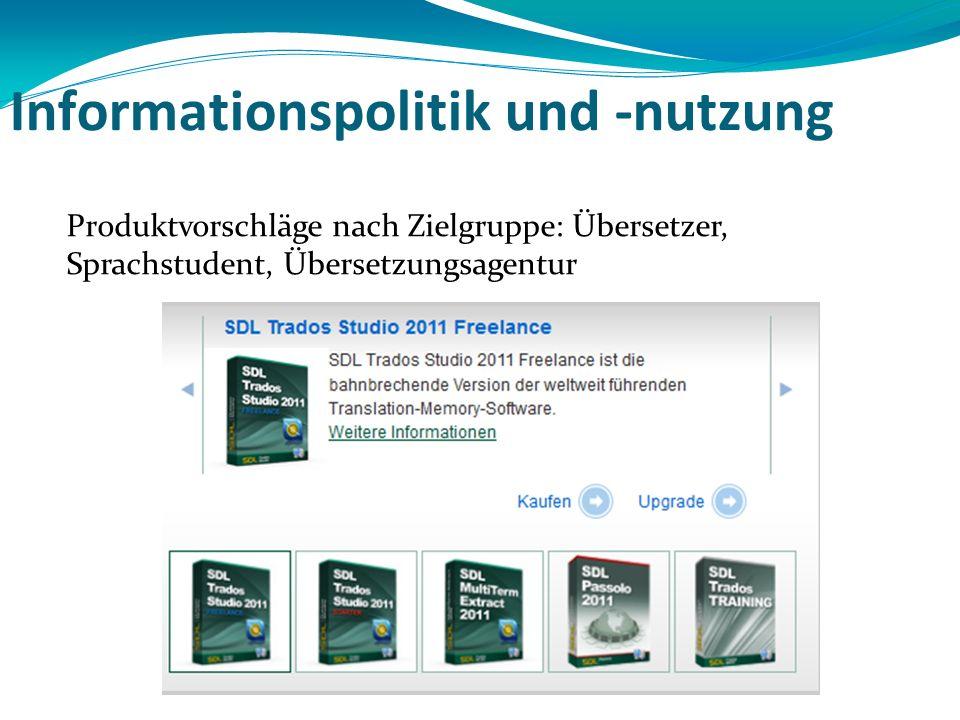 Informationspolitik und -nutzung Produktvorschläge nach Zielgruppe: Übersetzer, Sprachstudent, Übersetzungsagentur