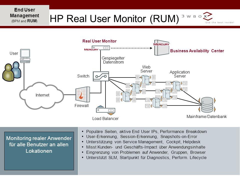 © 2007 3wBox GmbH, Badstraße 5, 90402 Nürnberg 12 End User Management (BPM and RUM ) Monitoring realer Anwender für alle Benutzer an allen Lokationen