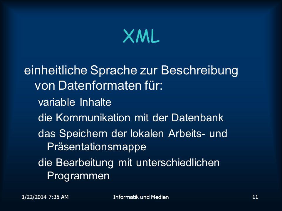 1/22/2014 7:36 AMInformatik und Medien11 XML einheitliche Sprache zur Beschreibung von Datenformaten für: variable Inhalte die Kommunikation mit der Datenbank das Speichern der lokalen Arbeits- und Präsentationsmappe die Bearbeitung mit unterschiedlichen Programmen