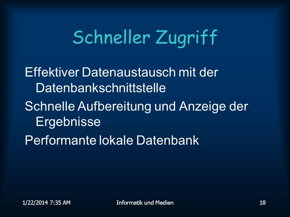 1/22/2014 7:36 AMInformatik und Medien18 Schneller Zugriff Effektiver Datenaustausch mit der Datenbankschnittstelle Schnelle Aufbereitung und Anzeige der Ergebnisse Performante lokale Datenbank