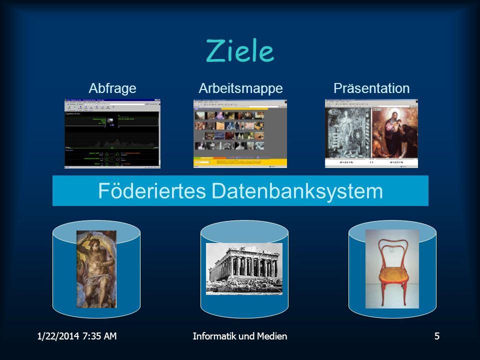 1/22/2014 7:36 AMInformatik und Medien5 Ziele Föderiertes Datenbanksystem AbfrageArbeitsmappePräsentation