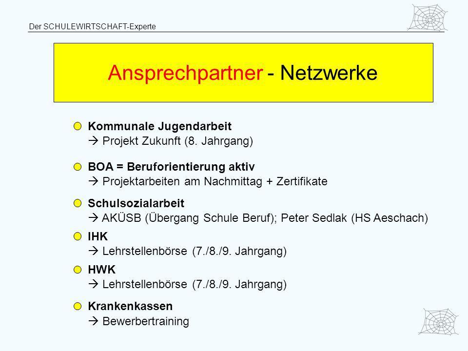 Der SCHULEWIRTSCHAFT-Experte Ansprechpartner - Netzwerke Kommunale Jugendarbeit Projekt Zukunft (8. Jahrgang) BOA = Beruforientierung aktiv Projektarb
