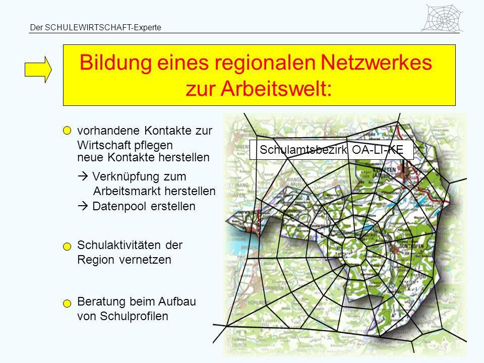 Bildung eines regionalen Netzwerkes zur Arbeitswelt: vorhandene Kontakte zur Wirtschaft pflegen neue Kontakte herstellen Verknüpfung zum Arbeitsmarkt