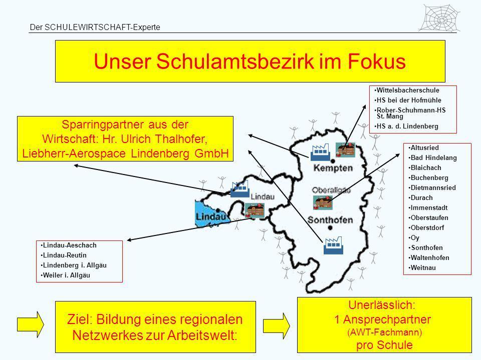 Der SCHULEWIRTSCHAFT-Experte Ziel: Bildung eines regionalen Netzwerkes zur Arbeitswelt: Unser Schulamtsbezirk im Fokus Unerlässlich: 1 Ansprechpartner
