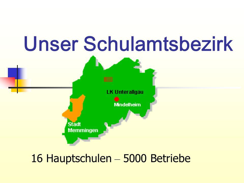 Unser Schulamtsbezirk 16 Hauptschulen – 5000 Betriebe