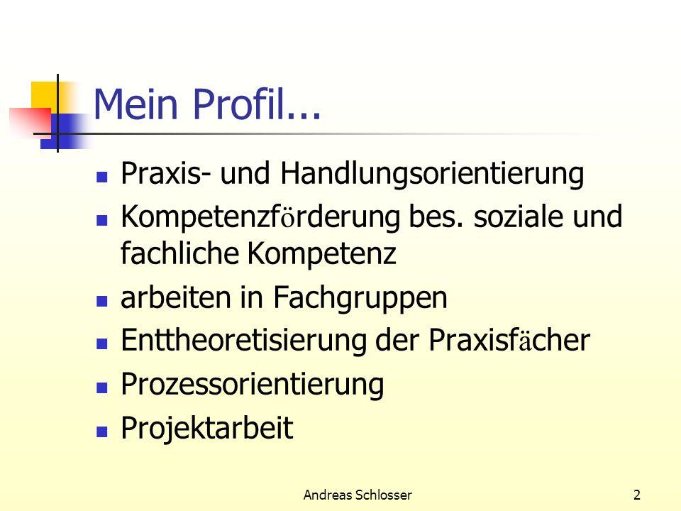 Andreas Schlosser2 Mein Profil... Praxis- und Handlungsorientierung Kompetenzf ö rderung bes. soziale und fachliche Kompetenz arbeiten in Fachgruppen