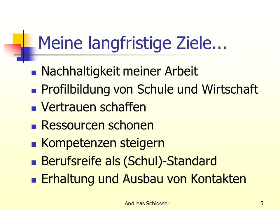 Andreas Schlosser5 Meine langfristige Ziele... Nachhaltigkeit meiner Arbeit Profilbildung von Schule und Wirtschaft Vertrauen schaffen Ressourcen scho