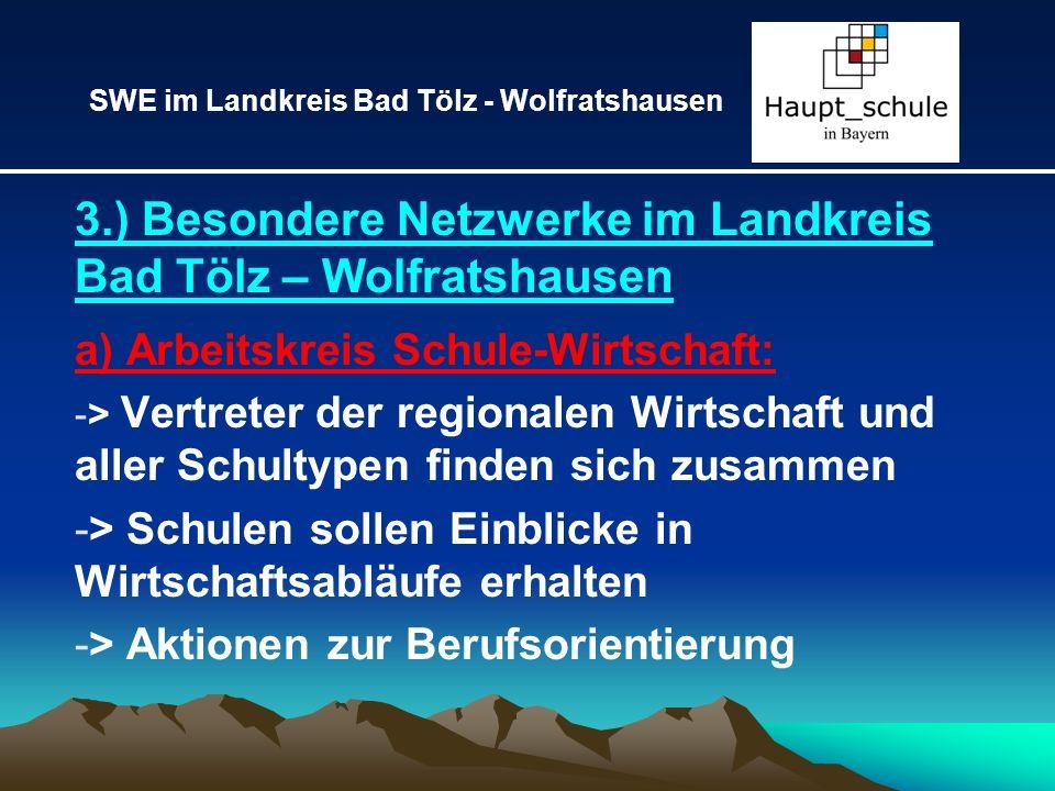 3.) Besondere Netzwerke im Landkreis Bad Tölz – Wolfratshausen a) Arbeitskreis Schule-Wirtschaft: -> Vertreter der regionalen Wirtschaft und aller Sch