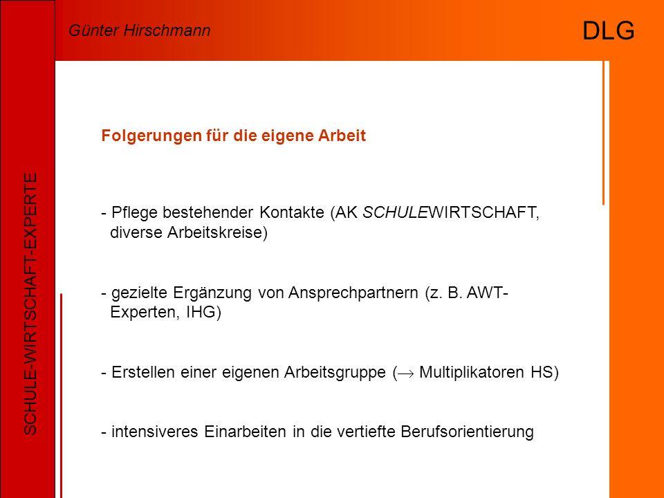 Folgerungen für die eigene Arbeit - Pflege bestehender Kontakte (AK SCHULEWIRTSCHAFT, diverse Arbeitskreise) - gezielte Ergänzung von Ansprechpartnern (z.
